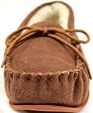 Snugrugs Lambswool Suede Moccasin Slippers with Rubber Sole - Light Brown - UK 13