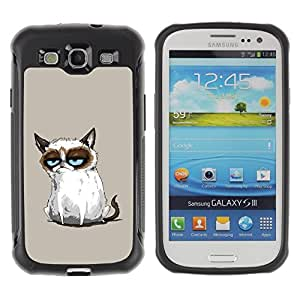 Stark Weich TPU GEL Hülle Schutz Etui für Samsung Galaxy S3 I9300 / Business Style Funny Mad Angry Cat Painting