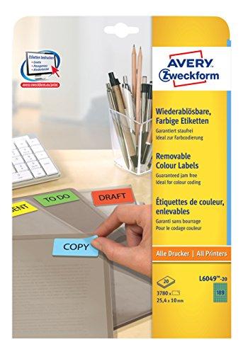 Avery Zweckform L6049-20 Farbige Etiketten (A4, 3780 Stück, 25,4 x 10 mm) 20 Blatt grün