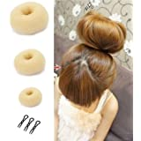 Set Of 3 TKOnline Beige Hair Donut Bun Ring Styler Maker With 3Pcs Plug Comb