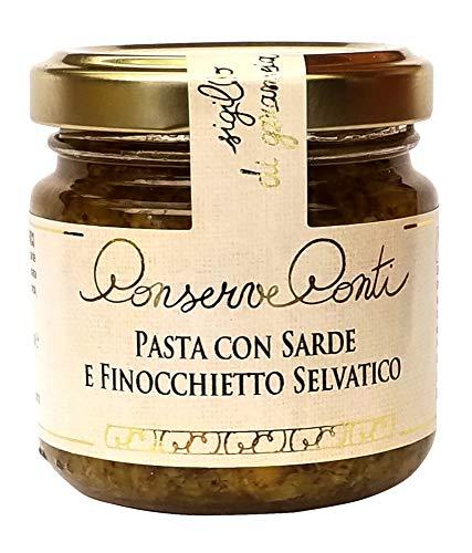 Condimento per pasta con sarde e finocchietto selvatico in olio extravergine d'oliva vaso da ml. 106 produzione artigianale siciliana