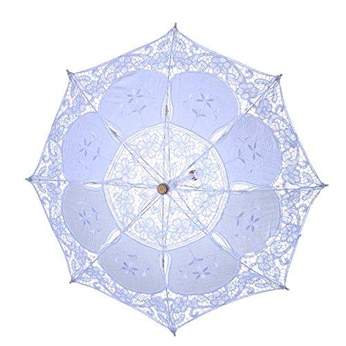 LUOEM Parasol de encaje de la boda paraguas para dama de honor Bridesmaid Party Decoration Photo Props talla L (blanco)