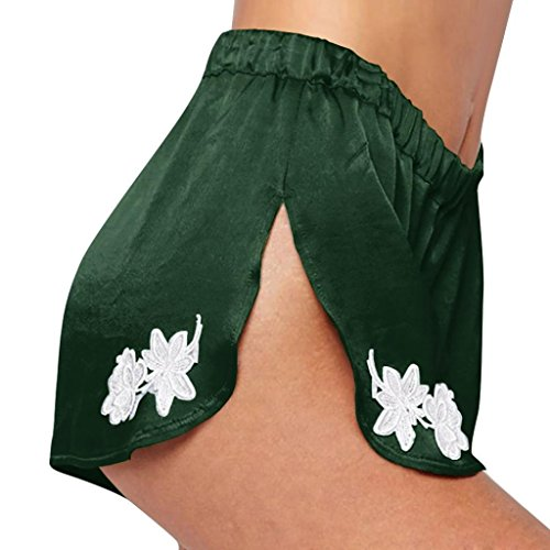 ESAILQ Shorts Women Summer Sexy Casual Elastic Waist Band Spilt Applique Pants