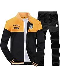 Homme Survêtement 2 Pièces Manches Longues Zipper Baseball Veste  Sweat-Shirt + Jogging Pantalons ed3722ab63b