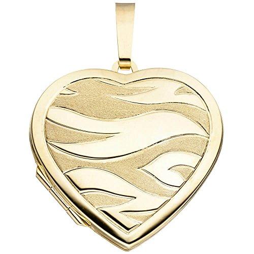 Medaillon Anhänger zum Öffnen Herz teilmattiert 585 Gold Gelbgold Damen