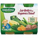 Blédina - Jardinière de légumes boeuf dès 6 mois - Les 2 pots de 200g (400g) - (pour la quantité plus que 1 nous...