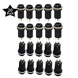 Mini Hembra de 3,5mm estéreo Jack de montaje en panel Socket Plug Conector con tuercas de soldadura para auriculares Audio y vídeo, chapado en oro Full 4canales, pack de 20, por ltsstoreuk