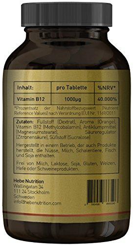 Vitamin B12 Methylcobalamin 1000 μg, hochdosiert, 250 Lutschtabletten, vegan, Premium-Qualität von Hebe Nutrition - 3