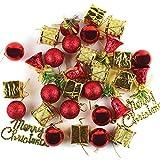 ZOCONE Weihnachtskugeln Weihnachtsdeko Anhänger 32 Pcs Weihnachtskugel Dekorationen Weihnachtskugeln Baumkugeln (Rot)