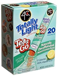 4C Totally Light Tea 2 Go Iced Tea Mix, Decaffeinated, Lemon, Sugar Free, 20-Count Boxes (Pack of 3)