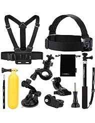 Luxebell® 9 in 1 Zubehör-Reihe-Kit für Sony Action-Kamera HDR-AS15 / 20 / 30V / 100V / AS200V /AZ1 Mini / FDR-X1000V/W Stirnband(Helm)+erweiterbarer Monopod+Weste(Brustgurt)+Auftriebskraftszeug+Fahrradlenkerhalter+Saugnapf+Aufbewahrungstasche+Anschluss(Adapter,J-Wölbunghaken,Schraube)