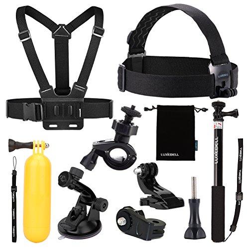 Luxebell 9 en 1 kit de accesorios para Sony Action Cam HDR-AS15/AS20/AS30V/AS100V/AS200V/Sony Action Cam HDR-AZ1 Mini Sony FDR-X1000V/W 4K CamerasDescripciones: Montaje de correa de pecho ajustable para Sony Action Cam, capturar maravilloso video y f...