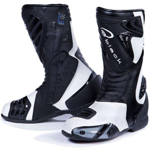 Black Zero - Motorrad-Stiefel - wasserdicht - Sport/Racing - Weiß - EU44 (UK10)