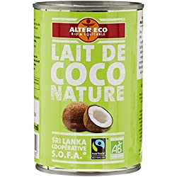Alter Eco Lait de Coco Nature Bio et Equitable 400 ml - Lot de 4