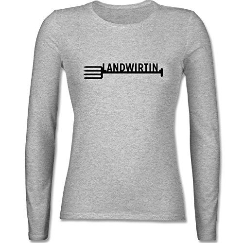 Landwirt - Landwirtin - tailliertes Longsleeve / langärmeliges T-Shirt für Damen Grau Meliert