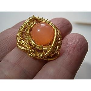 Ring pastell orange apricot handmade vergoldet wirework Quarz