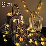 7M 50 LED Catena Luminosa Esterno Solare, TASMOR LED Ghirlanda Solare USB Ricaricabile, Luci Catena luminose IP65 Impermeabile con 8 Modalità di Lampeggiata, Luci Led per Giardino, Patio, Terrazza