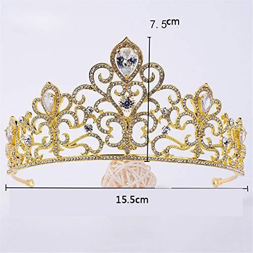 Drohe-q corona abito da sposa accessori di lusso europeo gioielli in lega di strass sposa zircone big fashion-15.5 * 7.5 cm