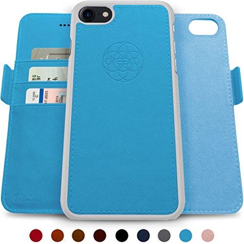 Dreem Fibonacci iPhone 7 & iPhone 8 Hülle und Brieftasche, herausnehmbare Schutzhülle, 2 Aufstellmöglichkeiten, RFID Schutz, Hochwertiges künstliches Leder, Geschenkverpackung - 5.5 Sky Blue