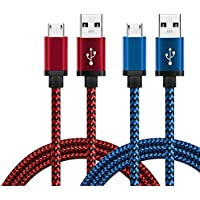 Micro USB Cable 2 Pack 3ft, BeneStellar Premium Nylon Braided Micro USB Ultra Durable 2.4 A High Speed Fast Charger Cables for Samsung Galaxy S6 / S7 / S7 Edge, HTC, Huawei, Sony, Nokia, Kindle, Android Smartphone and More (3ft / 0.9m, Red & Blue)