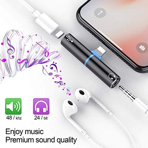 Lilypin® New 2 in 1 with 3.5 mm Mini Portable Charging Metal Splitter Audio Charger Adapter for iPhone X 7 8 Plus 6s or 5s (Multicolour)