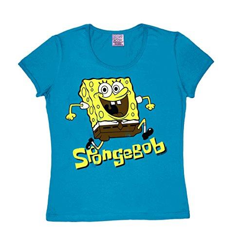 Spongebob Kostüm Patrick (Frauen T-Shirt SpongeBob Schwammkopf - Springen - Girls Shirt SpongeBob Squarepants - Jumping - Rundhals T-Shirt von Logoshirt - blau - Lizenziertes Originaldesign, Größe)
