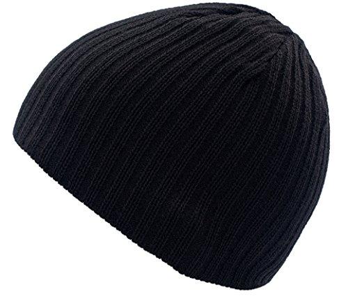 4sold Damen Herren Slouch Beanie Wurm Winter Style Beanie Strickmütze Mütze HAT SKI Snowboard (Black)