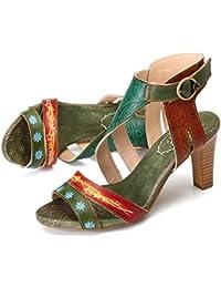 gracosy Sandalias de Cuero para Mujer Zapatos de Tacón Grueso Verano Correa de Tobillo Peep Toe Vestido Hecho a Mano Bombas Mujeres Que Caminan Casual Comfort Zapatos para el Banquete de Boda