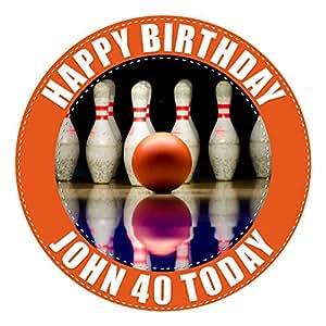 10broches de bowling gâteau 19,1cm cm personnalisés, comestibles sur feuille de glaçage, image haute résolution