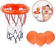 Bath Toys, LEHSGY Bathtub Basketball Hoop Balls Set Included 3 Balls, Bathtub Shooting Game Toy with Strong Su