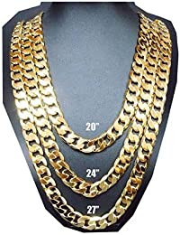 444cdcf22f98 Oro Cadena Collar 9 mm 24 K moda joyas diamante Miami cubano Link Hip Hop  Real