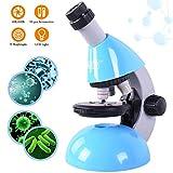 Emarth Mikroskop für Kinder Anfänger und Schüler, Einsteiger Mikroskop mit 40- bis zu 640-facher Vergrößerung und LED-Lampe & 50-teiliges Science Kit