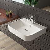 bad1a Keramik Waschtisch Eckig Waschplatz mit Überlauf Handwaschbecken Gäste WC Waschbecken