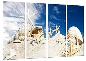 Quadro moderno fotografico spiaggia mare cielo, stelle conchiglie conchiglie su sabbia, 131x 63cm, rif. 27060