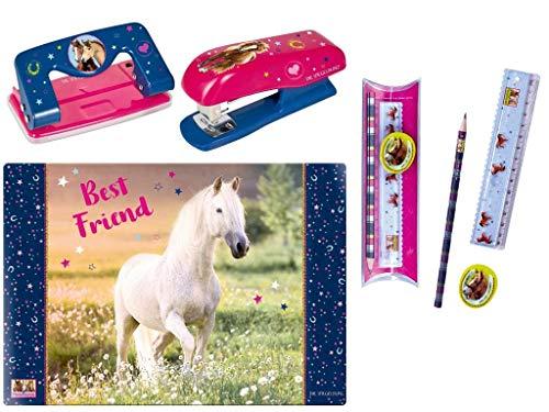 Pferdefreunde Die Spiegelburg Schulschreib-Set 4-teilig 14567 13946 13947 12858 Schreibtischauflage Best Friend Papierhefter Papierlocher + PferdefreunLinealset Pferdefreundede