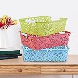 #6: Samplus Mall Set Of 3 Plastic Storage Basket Boxes Organizer Container Bin ,29 X 21 X 8 Cm