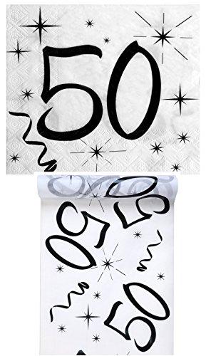 Geburtstag Set/Tischband 50 + Servietten 50/Geburtstagsdekoration/Servietten 50/Tischband Geburtstag