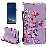 SANHENGMIAO COVER Für Samsung Handy Für Samsung-Galaxie S8 +/G9550 Malte horizontale Tasche des Schmetterlingmuster-Flipflops, Klippschlitz, Mappe, Seilmuster (Color : Purple)