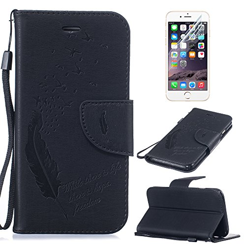 iPhone 7 Hülle,iPhone 7 Ledertasche,Sunroyal Retro Elegant Braun Reliefprägung Embossed Vögel Feder Muster Entwurf PU Leder Tasche Schutzhülle Folio Magnetverschluss Flip Case Wallet Taljereep Handyta Pattern 05