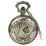 Avaner Reloj de Bolsillo Vintage Retro Póker Grabado para Buena Fortuna Royal Flush, Bronce Reloj Cuarzo con Cadena de 80CM, Buen