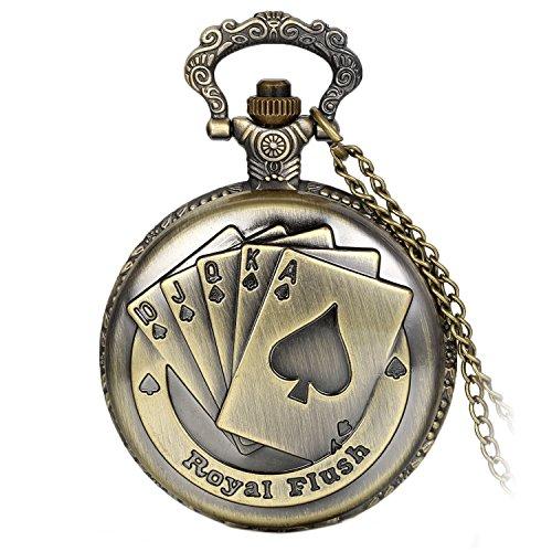 Avaner Taschenuhr Antike Steampunk Royal Flush Poker Quarz Taschenuhr Anhänger Halskette mit 31 Zoll Kette Damenuhr Herrenuhr Männer