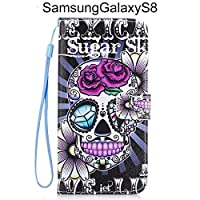 Bangcool Samsung Galaxy S8 Case Colorful Painting Creative Flip Cover for Samsung Galaxy S8 with Stand and Lanyard