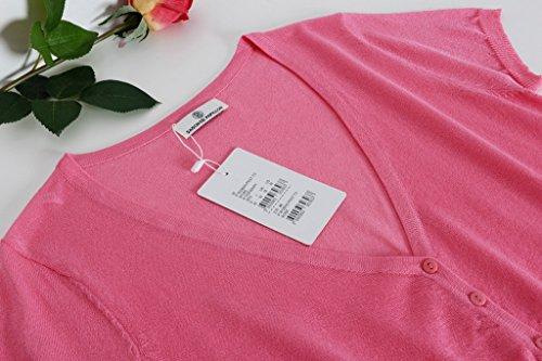 Smile YKK One Size Kurzes Aermel Damen Einfarbig Gestrickt Oberteil Strickpullover Tops Shirt Rosa
