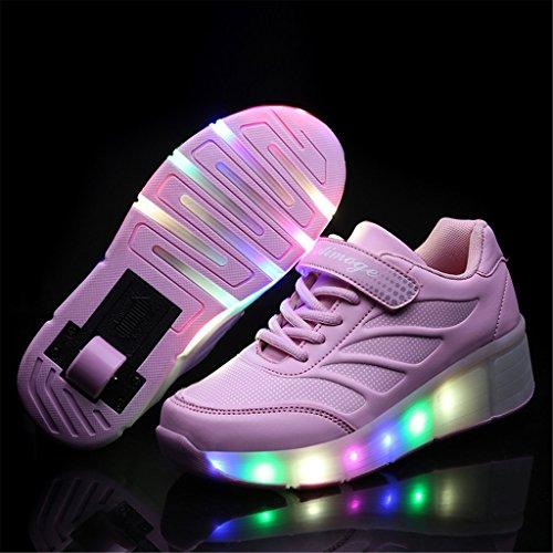 Wheelies Schuhe mit Rollen Rädern Skateboard Blinkschuhe Outdoor Sport Kinderschuhe Led Licht Turnschuhe Leuchtend Sneaker Mädchen Jungen Rosa 3