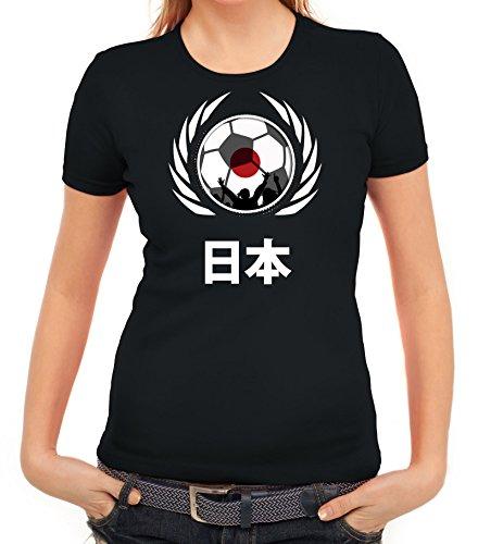 ShirtStreet World Cup Wappen Soccer Fussball WM Fanfest Gruppen Fan Wappen Damen T-Shirt Fußball Japan Schwarz