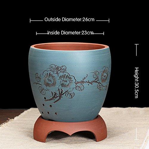 Nclon Boutique Yixing Argile pourpre Pot de fleur,Les orchidées Bassin Clivia Plantes en pots Bonsaï [style chinois] Indoor Tray Durable-a-Gros
