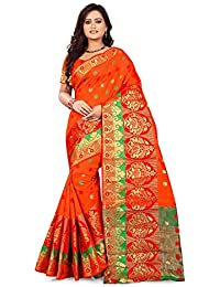 Queen Of India Women's Cotton Silk Saree With Blouse Piece (QI_12450A_Cotton_2018_Sarees, Multicolour, Free Size)