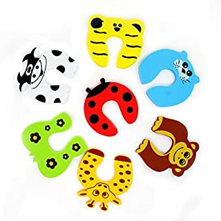 Aussel 7 Pieces Cut Cartoon Animal Foam Door Stopper Cushion for Baby Children Safety Finger Protection Mommy Good Helper