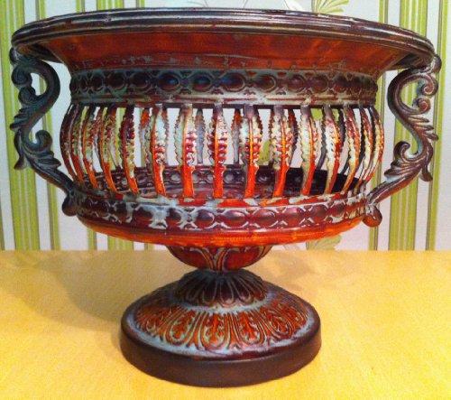 prunkvolle Schale im Jugendstil aus Metall braun Obstschale Pflanzkübel Übertopf (rustikal)