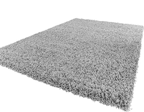 Soft Shaggy Silver Grey Modern Thick Rug 8 Sizes Available (60 x 100 cm (2' x 3'3''))